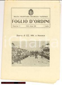 1935 MVSN FOGLIO D'ORDINI Sbarco CCNN Massaua