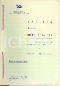 1965 TIRRENIA NAVIGAZIONE Tariffe ristorante bar