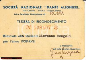 1939 Soc.Naz. Dante Alighieri, Giovanna Mengoli