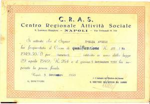 1950 NAPOLI CRAS DIPLOMA DI MURATORE
