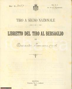 1896 BOLOGNA Libretto del Tiro al Bersaglio