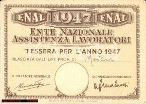 1947 NOVARA - Tessera ENAL