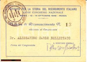 1949 CONGRESSO STORIA DEL RISORGIMENTO tessera