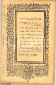 1898 Milano CATALOGO LIBRERIA ANTIQUARIA HOEPLI