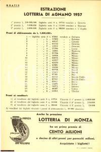 1957 LOTTERIA DI AGNANO Estrazione locandina