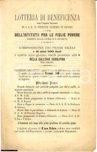 1890 Lotteria beneficenza Istituto Figlie Povere