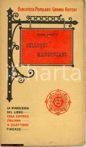 1910 Giosue Carducci COLLOQUI MANZONIANI