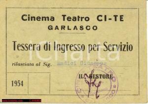 1954 Garlasco - Tessera Ingresso Cinema Ci-Te