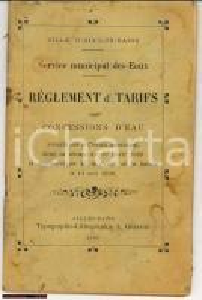 1909 AIX LES BAINS Regolamento e tariffe