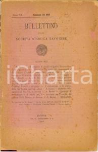 1906 Savona - Bullettino della Società Storica Savonese