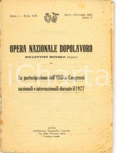 1927 OPERA NAZIONALE DOPOLAVORO ai Congressi Nazionali