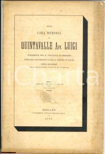 1891 BERGAMO Memoriale morte avv. Luigi QUINTAVALLE