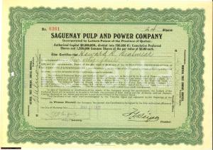 1921 SAGUENAY PULP AND POWER COMPANY cer.azionario