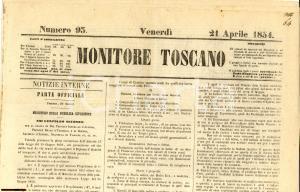 1854 MONITORE TOSCANO Esperimenti per diploma di pubblico maestro *Giornale