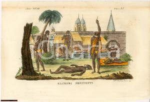 1823 COSTUMI INDIA Fachiri penitenti Inc. BERNIERI Colorata a mano *STAMPA