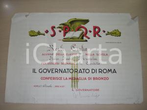 1932 ROMA Guido REALI medaglia in condotta Diploma