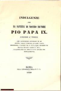 1853 ROMA Istruzioni per ottenere le indulgenze PIO IX