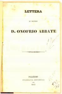 1842 Francesco VENTURELLI Lettera a D. ONOFRIO Abate