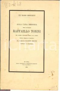 1894 SERAVEZZA (LU) In memoria avv. Raffaello TONINI