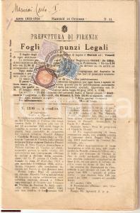 1923 FIRENZE Annunci legali della città di FIRENZE