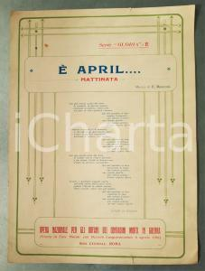 1920 Ermenegildo RUSCONI E' april... Mattinata *Spartito Opera Orfani Contadini