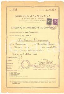 1945 VENEZIA Attestato Giovanni DE LUCA al Ginnasio