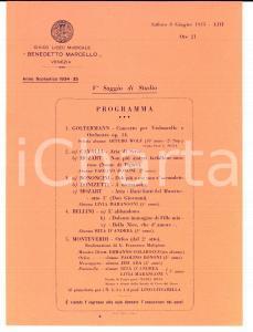 1935 VENEZIA Liceo Musicale 'Benedetto Marcello' *Programma saggio di studio