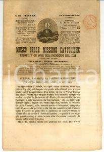 1877 TORINO Museo delle MISSIONI CATTOLICHE Anno XX n° 46 *Periodico
