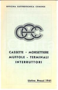 1961 COMO Officina Elettrotecnica Comense *Listino muffole e morsettiere