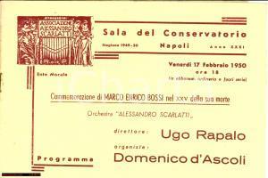 1950 NAPOLI Orchestra ALESSANDRO SCARLATTI Commemorazione Marco Enrico BOSSI