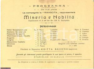 1920 circa NAPOLI Teatro LA RINASCITA Miseria e nobiltà