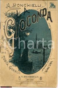 1887 MILANO Amilcare PONCHIELLI La Gioconda il. ALFREDO