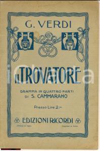 1920 ca Giuseppe VERDI Il Trovatore Salvadore CAMMARANO *Edizioni RICORDI