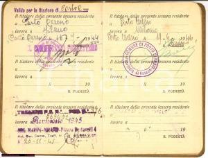 1944-45 RSI TESSERA FERROVIARIA PORTO CERESIO