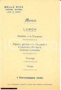 1930 FASANO (BS) Ristorante BELLARIVA Menù lunch
