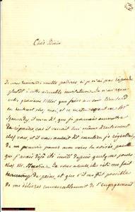 1864 PARIGI lettera autografa RATTAZZI declina invito
