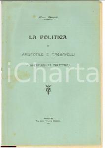 1911 ALFONSO ABBAMONDI Politica Aristotele Machiavelli