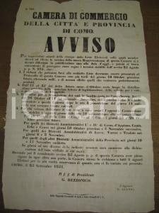 1851 COMO elezione rappresentanti CAMERA DI COMMERCIO