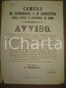 1858 COMO premi di incoraggiamento CAMERA DI COMMERCIO