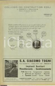 1949 BRESCIA Rivista Collegio dei Costruttori Edili