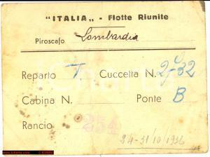 1936 PIROSCAFO LOMBARDIA Tessera di navigazione