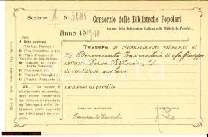 1910 MILANO Consorzio Biblioteche popolari TAVECCHIO
