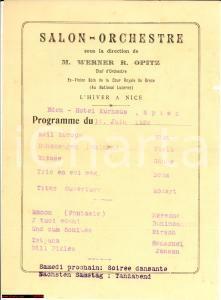 1924 SPITZ (CH) Hotel EDEN Serata musicale Werner OPITZ