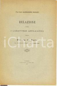 1910 Alessandro ROCCATI Caratteri della Pietra di Rorà