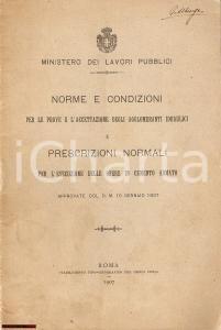 1907 Min. Lavori Pubblici  Norme agglomeranti idraulici