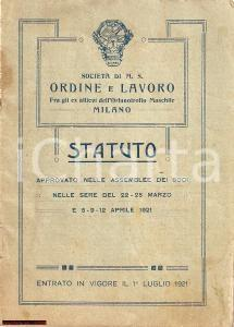 1921 MILANO Soc. ORDINE e LAVORO ex membri Orfanotrofio