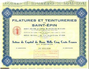 1959 FRANCE Filatures et Teintureries SAINT-EPIN Actions 2500 Francs
