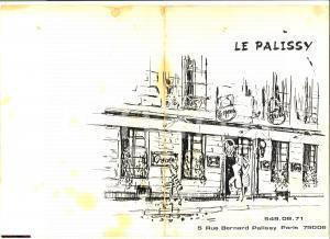 1960 PARIS Restaurant LE PALISSY menu