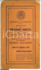 1922 BUENOS AIRES Audicion Orquesta GEORGES ZASLAWSKY