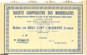 1920 TOURS (FR) Action Société Coopérative BOURRELIERS
